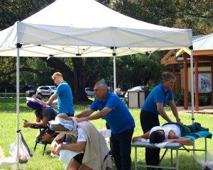 providing massage to participants at the 20Twenty Challenge