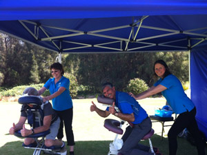 relaxing seated massage during a corporate golf event