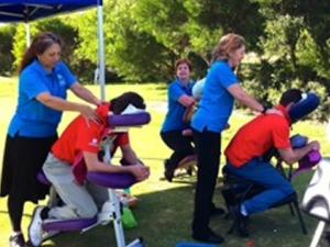 relaxing seated massage during an event