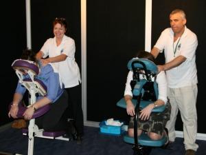 seated massage setup at the workplace